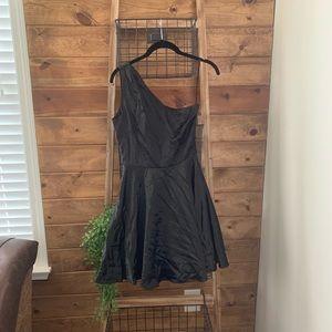 One Shoulder Satin Cocktail Dress